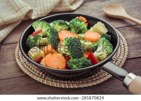 Mixed fresh vegetables in pan, filtered image