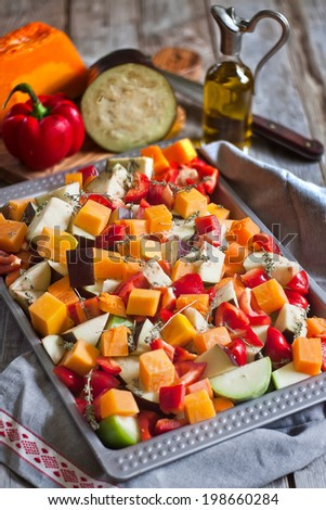 Mixed fresh vegetables prepared for roasting. Selective focus. - stock photo