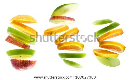 Mixed Fruit, apple and orange isolated on white background - stock photo
