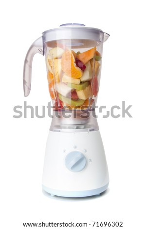 Mixed fruit in mixer with white background - stock photo