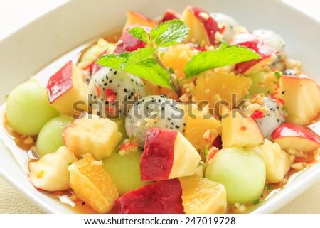mixed fruit spicy salad,  Thai style - stock photo