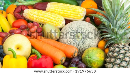 Mixed Fruits and vegetables - stock photo
