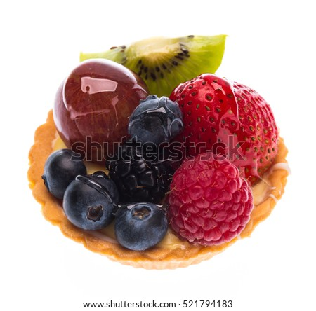 mixed fruits danish isolated on on white background