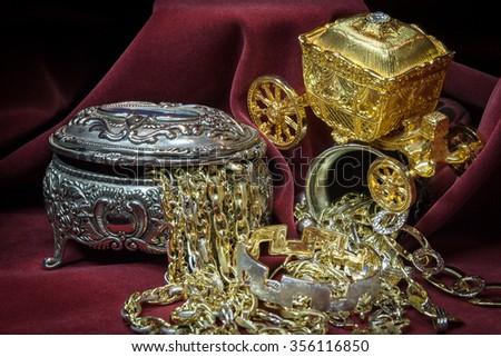 Mixed gold, silver and diamonds jewelry. treasure - stock photo