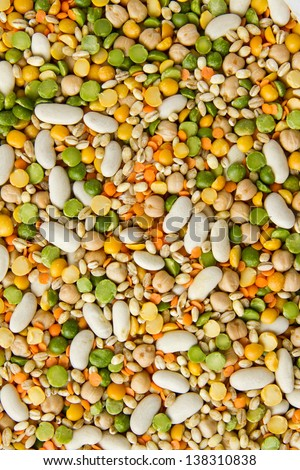 Mixed grains, pulses, beans, peas and legumes, filling the frame