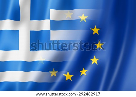 Mixed Greek and european Union flag, 3D illustration