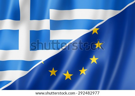 Mixed Greek and european Union flag, three dimensional render, illustration
