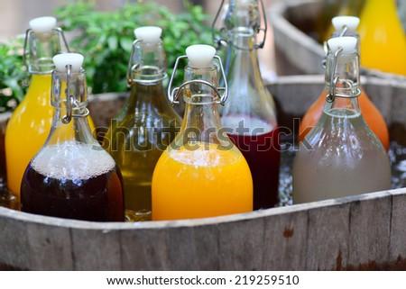 Mixed Ice Cold Juice Bottle - stock photo