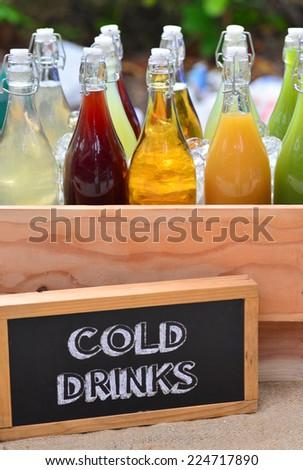 Mixed Ice Cold Juice Bottle. - stock photo