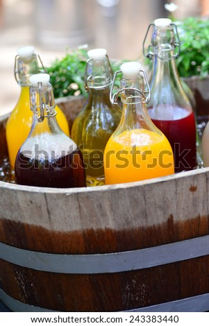 Mixed Ice Cold Juice Bottles - stock photo