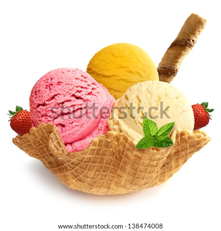 Mixed ice cream scoops in bowl - stock photo