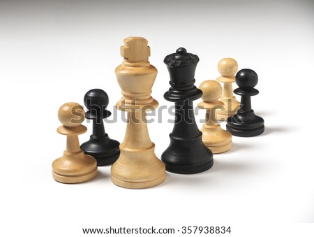 mixed marriage chess pieces family - stock photo