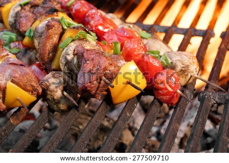 Mixed Meat And Vegetables Kebabs On Flaming Charcoal Barbecue Grill Background. Good Snack For Summer Outdoor Weekend Party or Picnic - stock photo