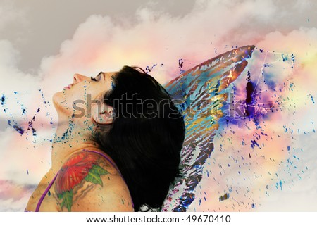 Mixed media collage of fairy woman with wings against abstract background - stock photo