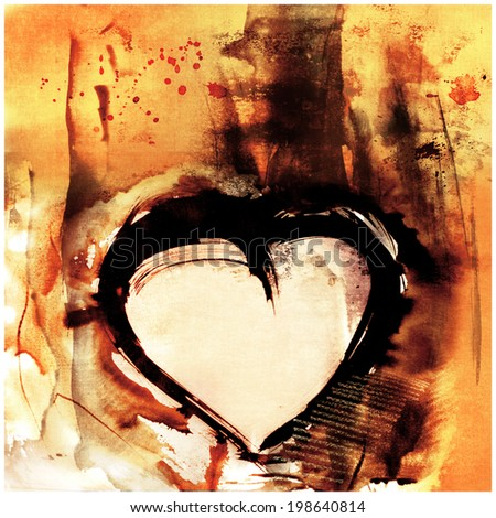 mixed media expressive painting of simple heart symbol - stock photo