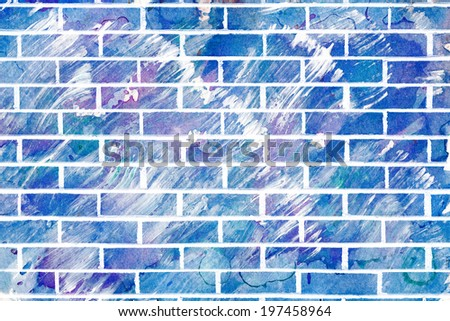 Mixed media image combining a brick wall texture and an abstract acrylic painting.  - stock photo