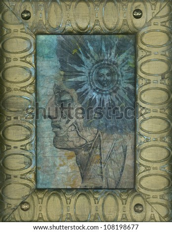 Mixed medium artwork with anatomical portrait and alchemical sun.