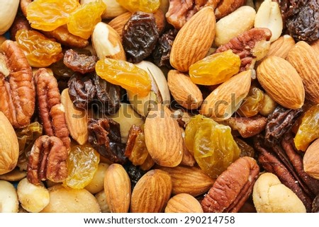 Mixed nuts background - stock photo