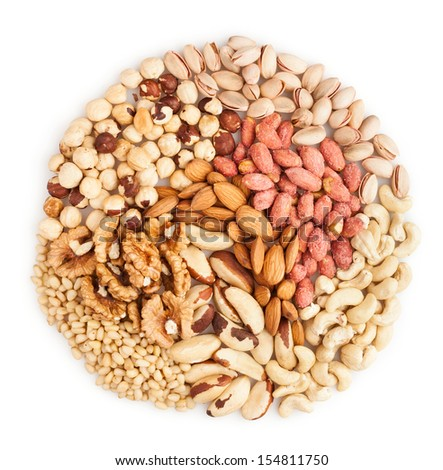 mixed nuts heap on white background - stock photo