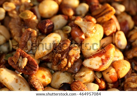 Mixed nuts, honey and spices added together to make this crunchy, delicious nutty feast