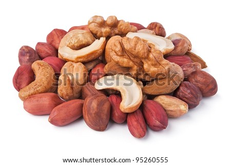 mixed nuts pile against white background