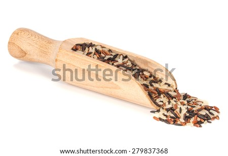 mixed of color rice in wooden dish and scoop isolated on white background