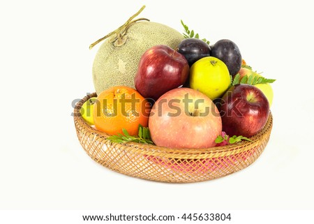 Mixed of Fresh Fruits in Basket Isolated on White Background with Clipping Path