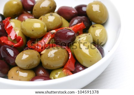 Mixed Olives in a bowl - stock photo
