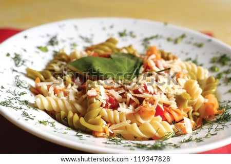 mixed pasta in a dish