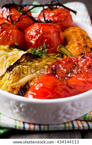Mixed pieces of baked vegetables. Selective focus.