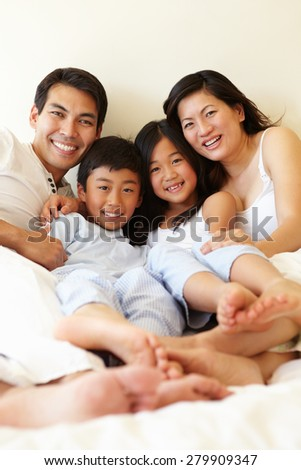 Mixed race Asian family