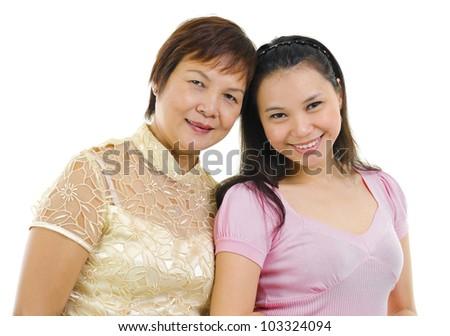 Mixed race Asian family isolated on white background - stock photo