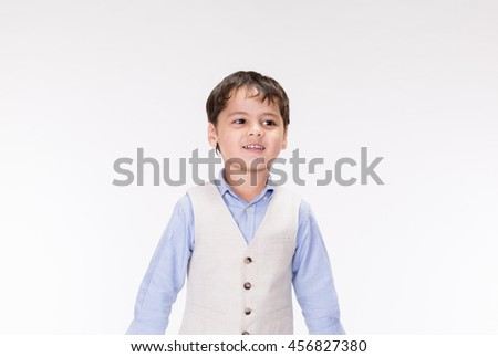 Mixed Race boy on a white background