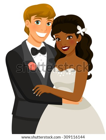 mixed-race couple getting married - stock photo