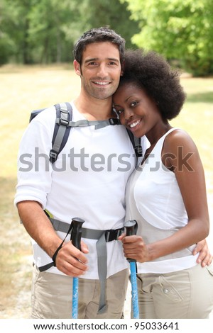 Mixed race couple hiking