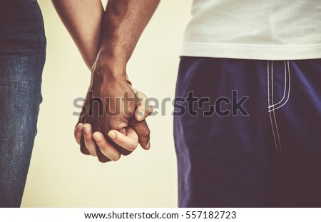 Mixed Race Couple Holding Hands