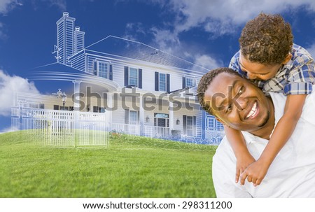 Mixed Race Father and Son Piggyback with Ghosted House Drawing, Partial Photo and Rolling Green Hills Behind. - stock photo