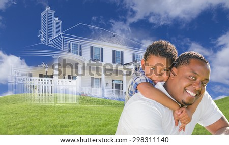 Mixed Race Father and Son with Ghosted House Drawing, Partial Photo and Rolling Green Hills Behind. - stock photo