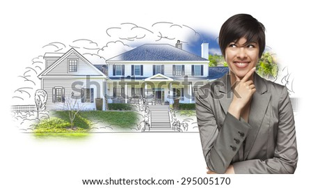 Mixed Race Female Gazing Over House Drawing and Photo Combination on White. - stock photo