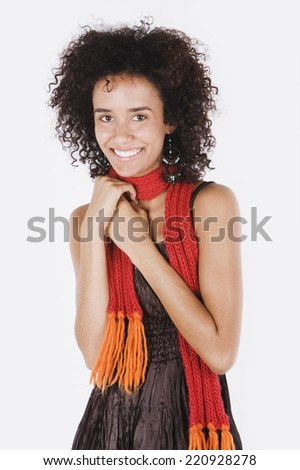 Mixed Race woman wearing scarf - stock photo