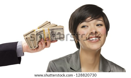 Mixed Race Young Woman Being Handed Thousands of Dollars Isolated on a White Background.