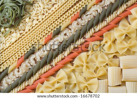 Mixed raw pasta - stock photo