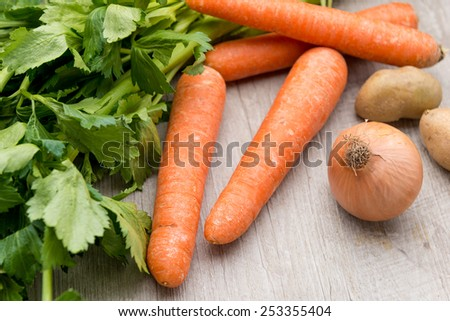 mixed raw vegetables for soup - stock photo