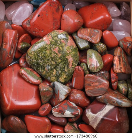 Mixed Red and green gemstones  - stock photo