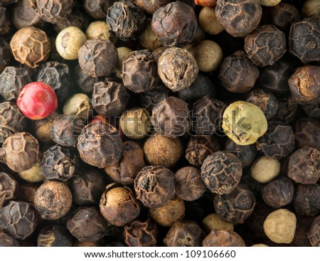 Mixed red, white and black pepper corn seeds in macro photo - stock photo