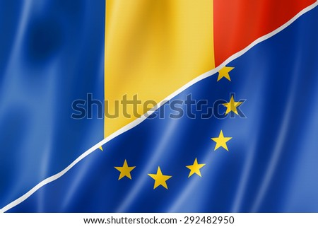 Mixed Romanian and european Union flag, three dimensional render, illustration