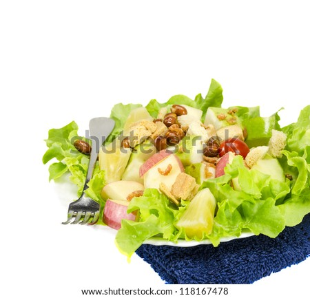 Mixed salad for healthy eating , isolated on white background