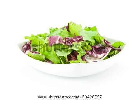 Mixed salad in a white plate