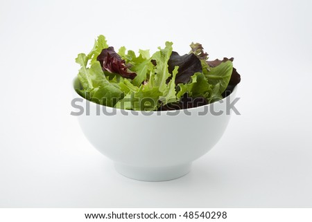Mixed salad leaves in a white bowl - stock photo