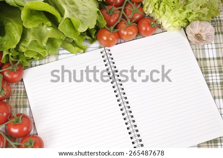 Mixed salad vegetable, cookbook, copy space - stock photo